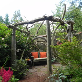 This rustic pergola represents the Wood element (photo taken on the Edmonds garden tour)