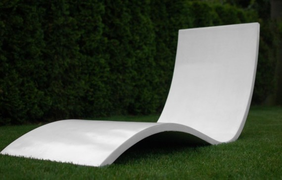 White concrete chairs by Matt Roberts