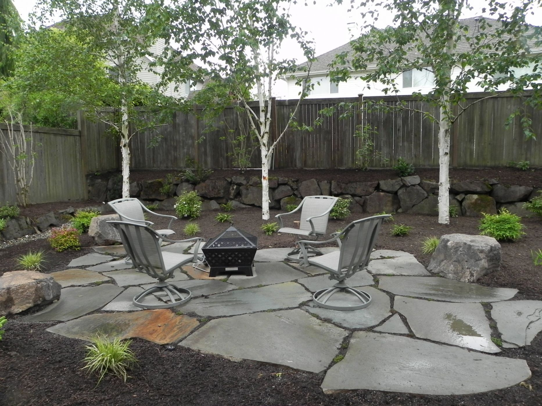 Snohomish backyard firepit sublime garden design for Fire pit ideas outdoor living