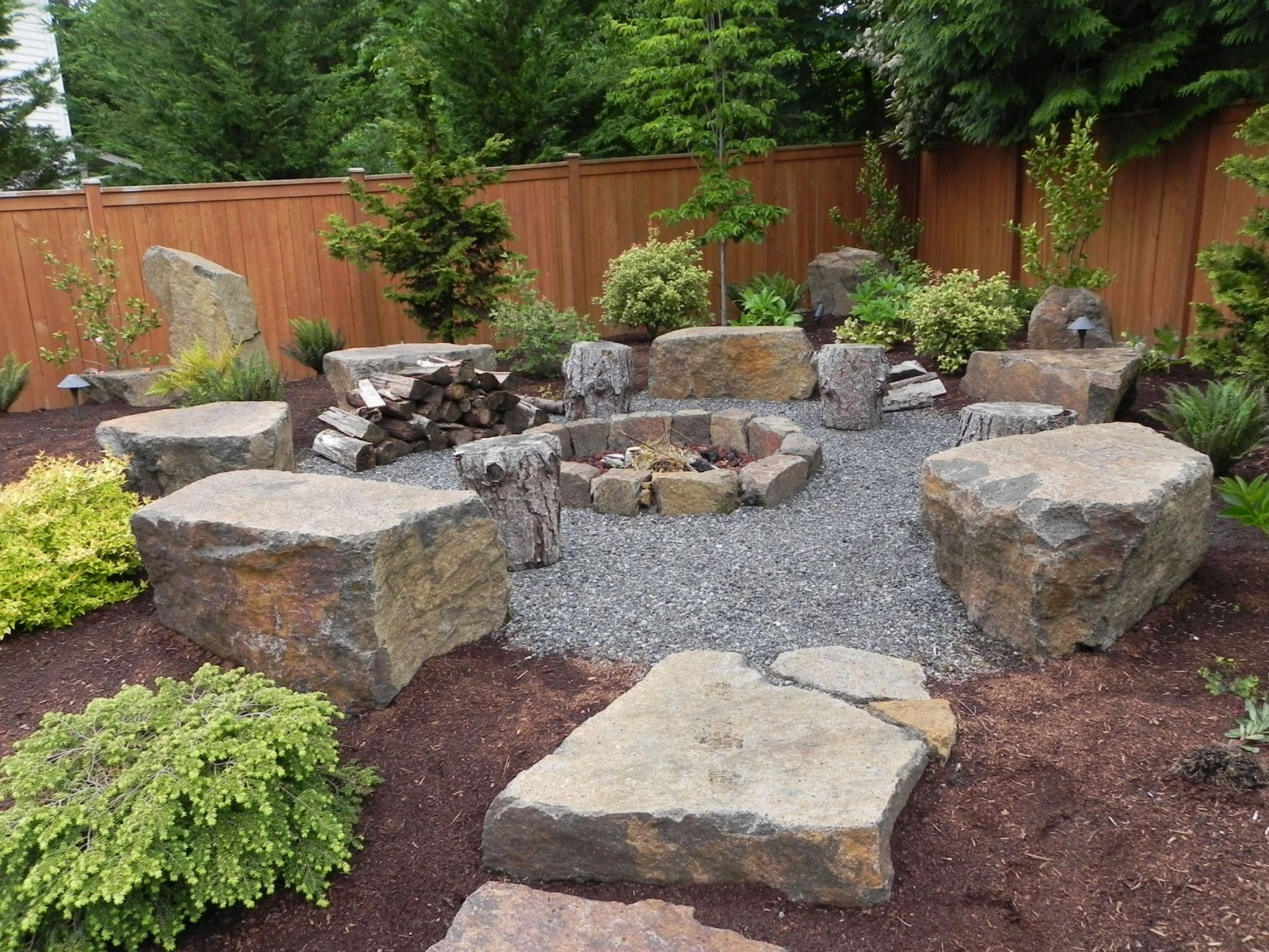 Snohomish rock firepit — Sublime Garden Design | Landscape ... on Backyard Rocks  id=48957
