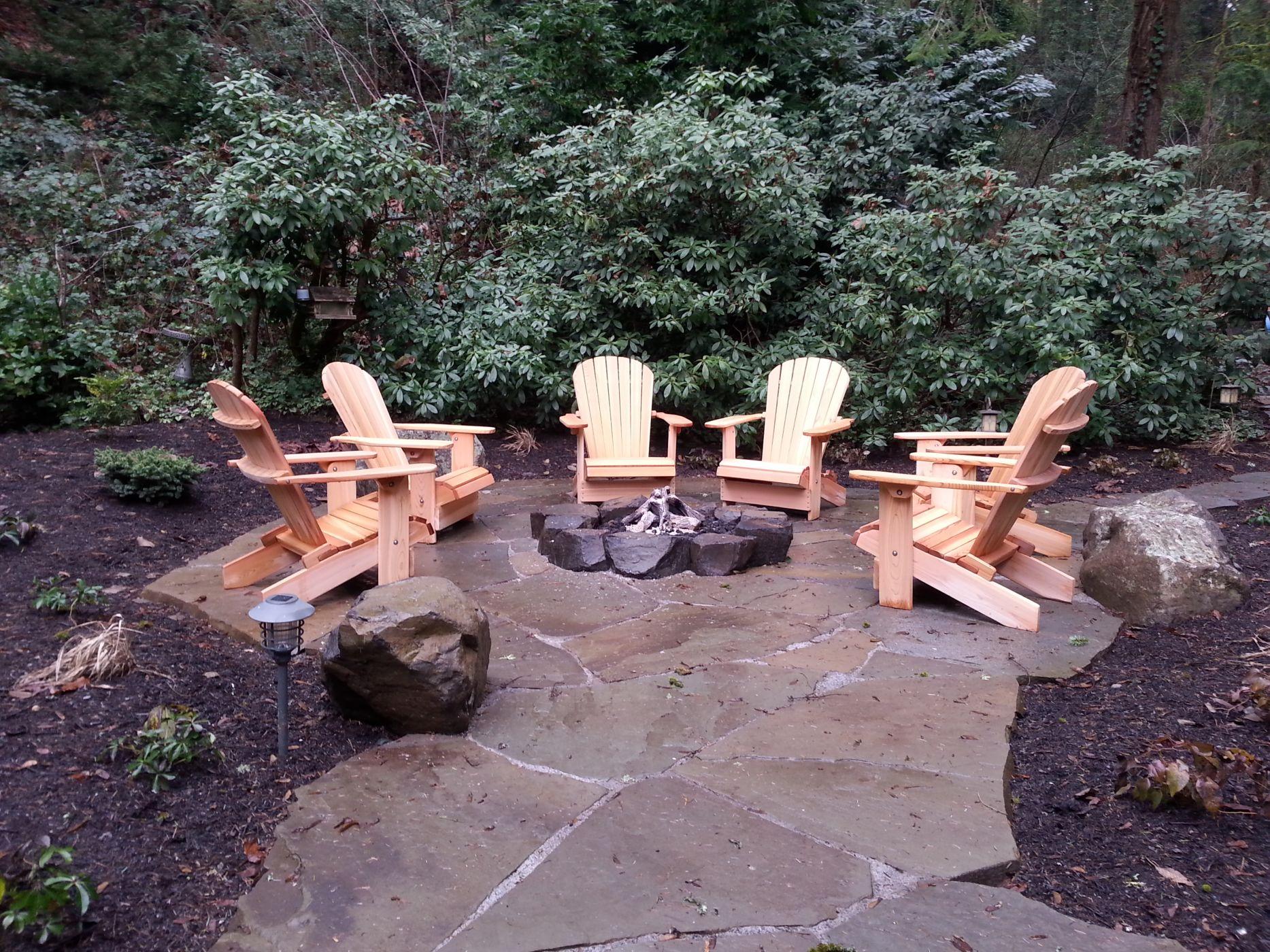 Rustic gas fire pit Mercer Island WA Sublime Garden