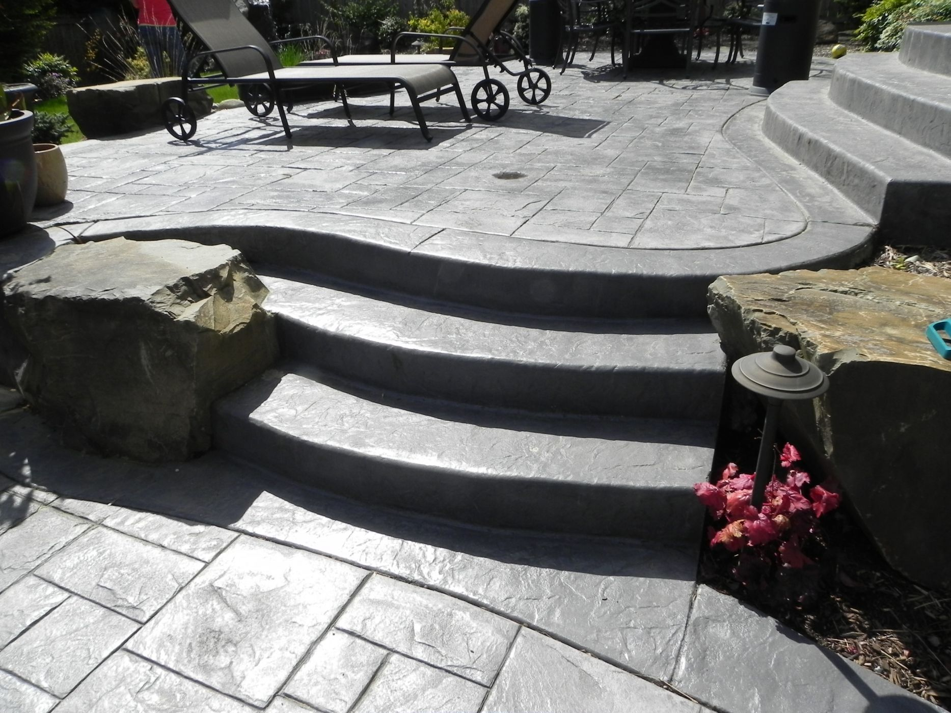 Issaquah, Stamped concrete patio and steps | Sublime Garden Design ...