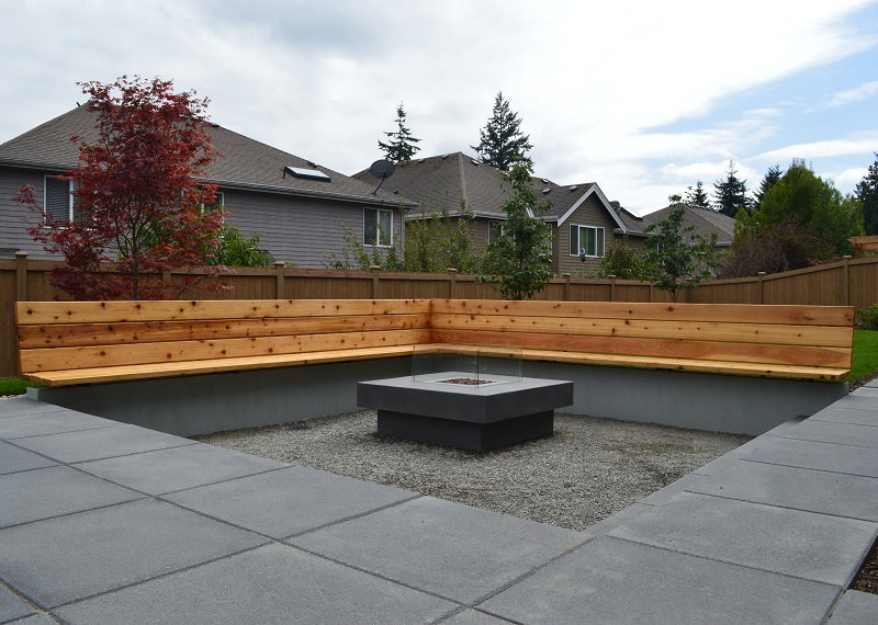 Modern Fire Pit and Bench