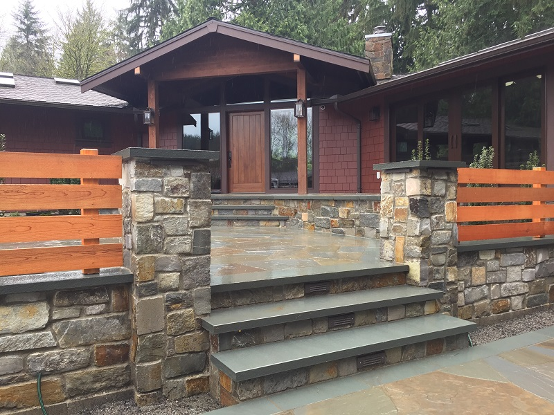 Redmond McGregor Lake Ledgestone Veneered Wall and Pillars by Sublime Garden Design (800x600)